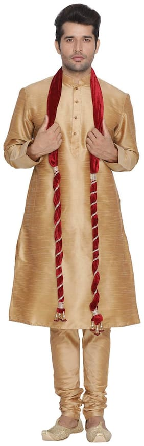 Vastramay Men Gold Cotton Silk Kurta Pyjama and Dupatta Set