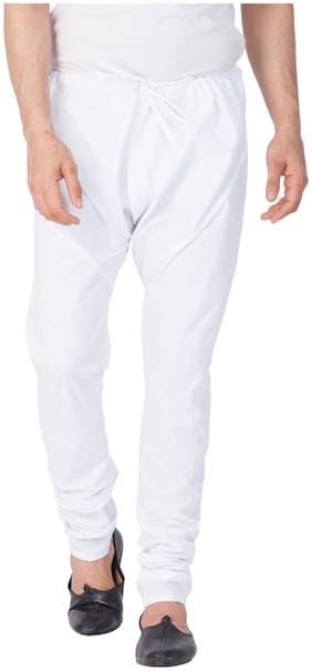 Vastramay Men White Cotton Churidar Pyjama