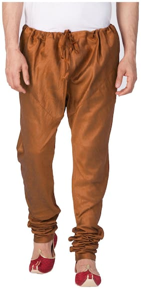 Vastramay Men Brown Cotton Silk Churidar Pyjama