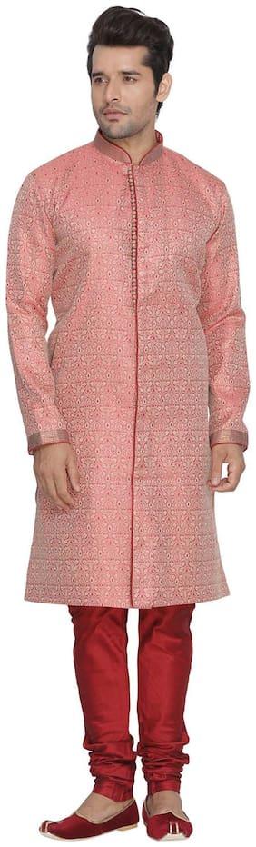 VASTRAMAY Blended Long Sherwani - Pink