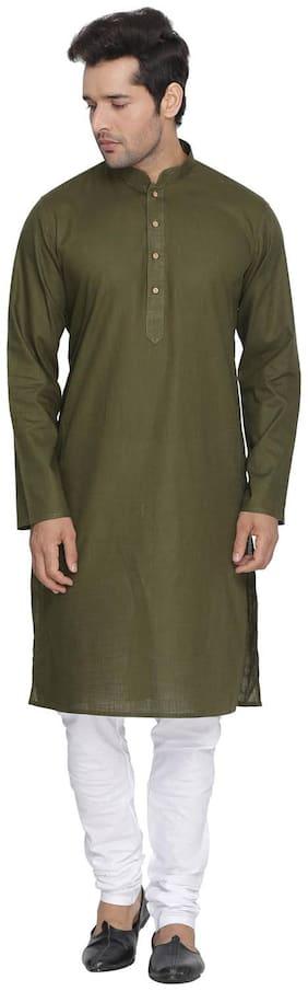 Vastramay Men Green Cotton Kurta and Pyjama Set