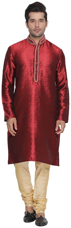 Vastramay Men Maroon Cotton Silk Kurta and Pyjama Set