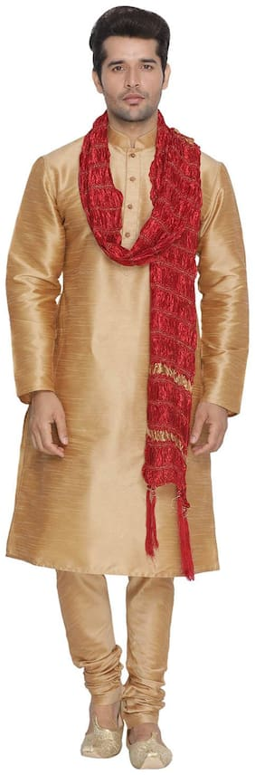 Vastramay Men Gold Cotton Silk Kurta Pyjama and Dupatta Set