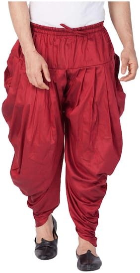 VASTRAMAY Linen Striped Regular dhoti Dhoti - Maroon