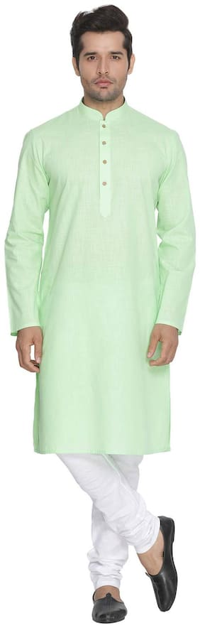 Vastramay Men Green Cotton Kurta and Pyjama Set