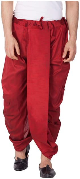 VASTRAMAY Dupion Striped Regular dhoti Dhoti - Maroon