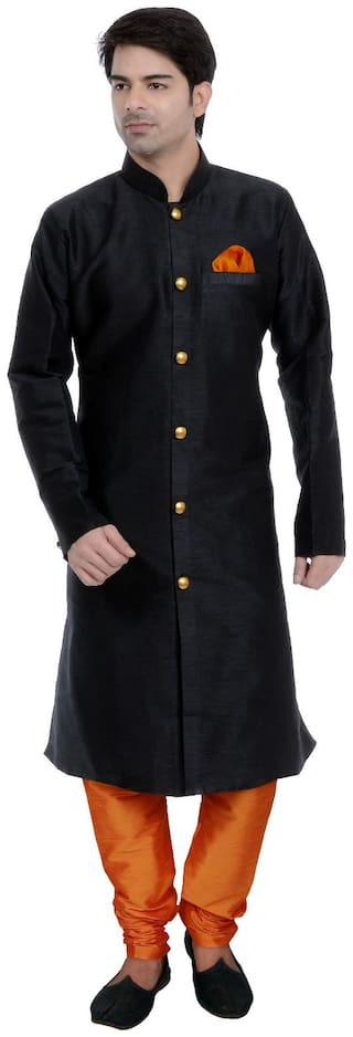 VASTRAMAY Men Regular fit Blended Full sleeves Solid Kurta Pyjama - Black