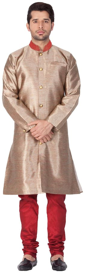 VASTRAMAY Blended Long Sherwani - Yellow