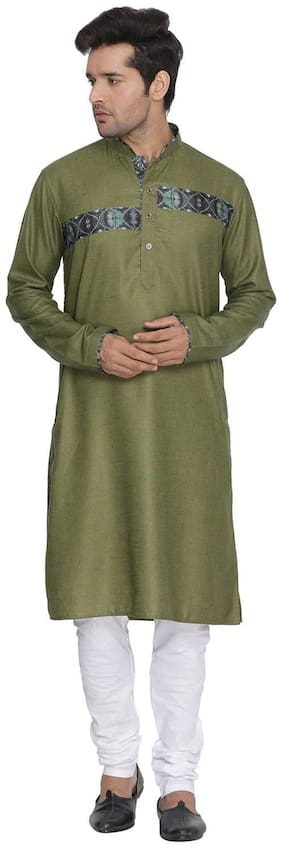 Vastramay Men Green Cotton Blend Kurta and Pyjama Set