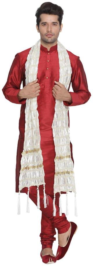 Vastramay Men Maroon Cotton Silk Kurta Pyjama and Dupatta Set