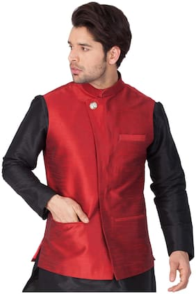 Vastramay Men Maroon Cotton Blend Modi/Nehru Jacket