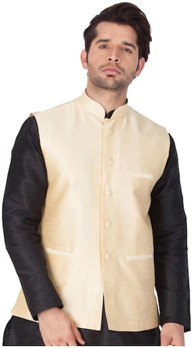 Vastramay Men Gold Cotton Blend Modi/Nehru Jacket