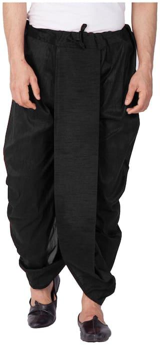 VASTRAMAY Dupion Striped Regular dhoti Dhoti - Black