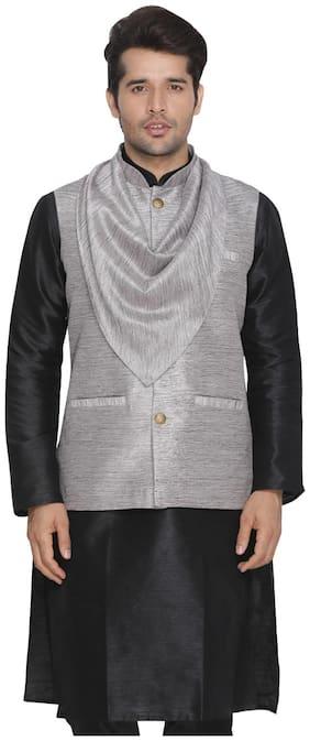 VASTRAMAY Men Grey Solid Regular Fit Ethnic Jacket
