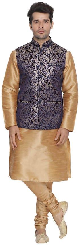Vastramay Men Blue Cotton Silk Kurta;Modi Jacket and Pyjama Set