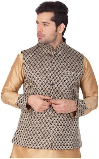 Vastramay Men Black Silk Blend Modi/Nehru Jacket