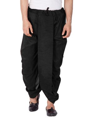 VASTRAMAY Dupion Striped Regular Dhoti Dhoti - Black