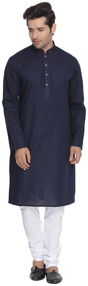 Vastramay Men Blue Cotton Kurta and Pyjama Set