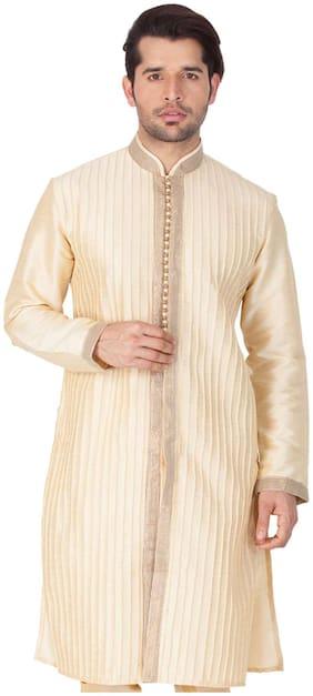 Vastramay Men Gold Cotton Silk Only Kurta