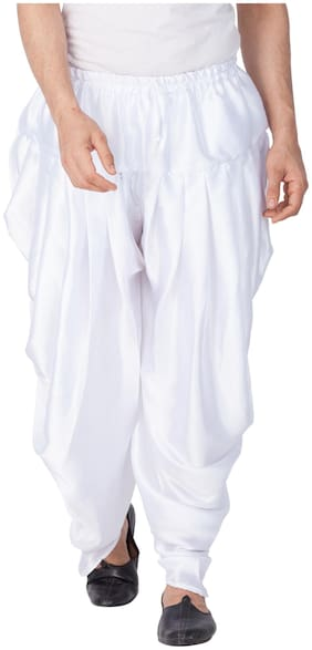 VASTRAMAY Dupion Striped Regular dhoti Dhoti - White