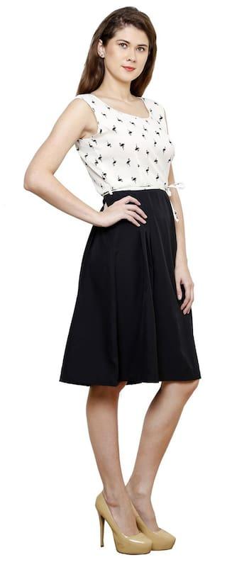 Black Dress Vastrasutra Crepe White And Eqvq4Txn