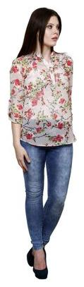 Vastrasutra Casual 3/4th Sleeve Floral Print Women's Multicolor Top