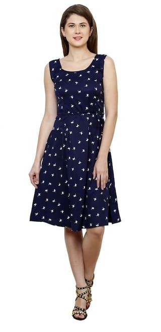 Vastrasutra Blue Crepe Dress
