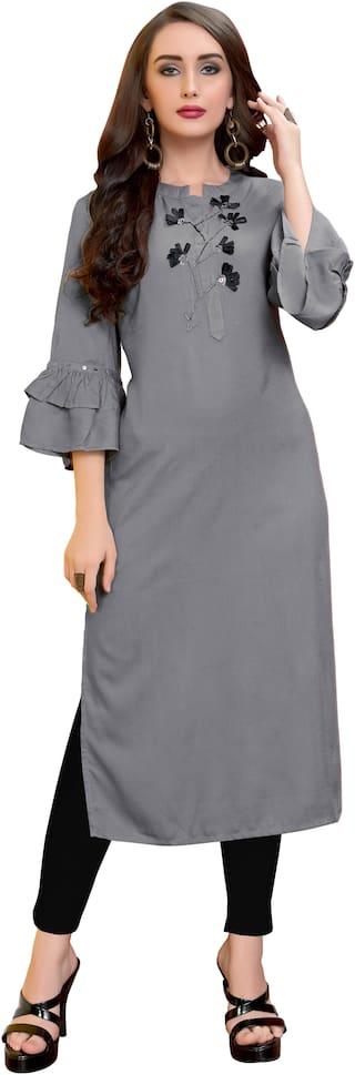 Vbuyz Women Grey Solid Straight Kurta