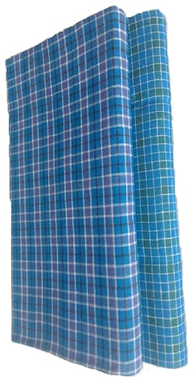 VCH Retail Cotton Checked Regular dhoti Dhoti - Blue