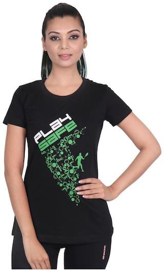 Vector X Women Printed Sports T-Shirt - Black