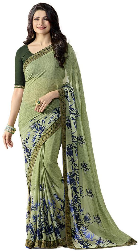 Vedant Vastram Women\'s Bollywood Designer Fashionable Georgette Printed Saree With Blouse Piece  Green Colour  by Vedant Vastram