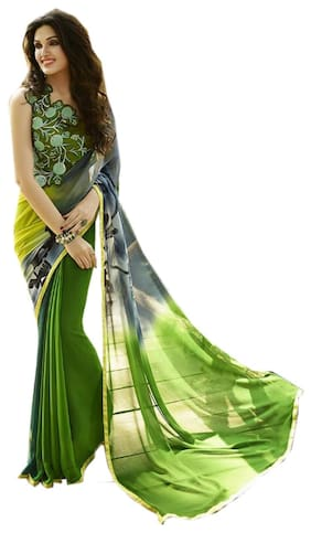Vedant Vastram Women's Georgette Printed Saree With Embroidered Blouse Piece (Green & Black Colour)