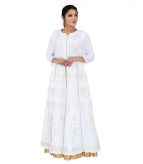 f1e9ad28558 Vedic Women Cotton Printed Layered Kurti - White