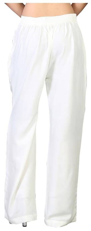 Vedik Style Womens Solid White Regular Fit Palazzos