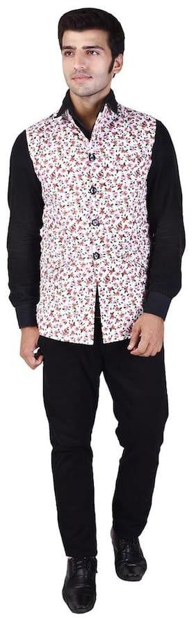 Veera Paridhaan Men's Printed Multicolour Cotton Nehru Jacket