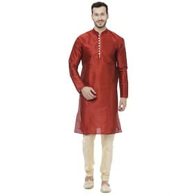 Veera Paridhaan Men Regular Fit Silk Full Sleeves Solid Kurta Pyjama - Red