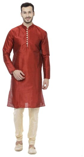 Veera Paridhaan Men Regular Fit Dupion Full Sleeves Solid Kurta Pyjama - Red