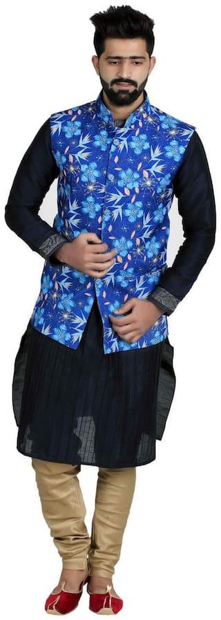 Veera Paridhaan Men's Printed Cotton Jute Nehru Jacket
