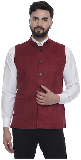 Men Solid Velvet Ethnic Jacket Pack Of 1