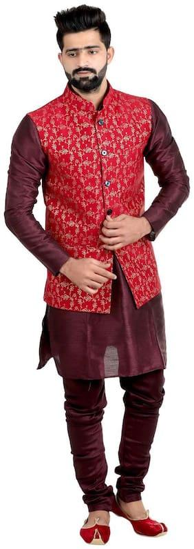 Men Printed Silk Ethnic Jacket