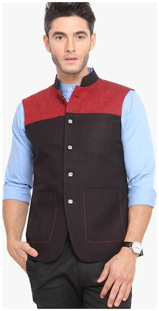 Veera Paridhaan Men Slim fit Cotton Sleeveless Solid Ethnic Jackets - Black