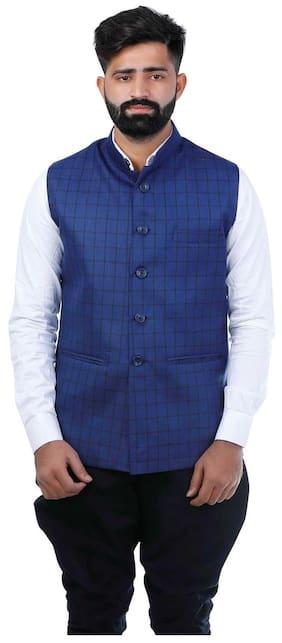 Veera Paridhaan Checks Blue Party wear Nehru Jacket