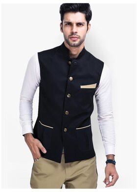 Veera Paridhaan Men Slim Fit Cotton Sleeveless Solid Ethnic Jackets - Black