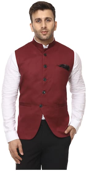 Men Solid Cotton Ethnic Jacket ,Pack Of Pack Of 1
