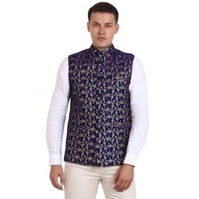 Veera Paridhaan Men Regular Fit Cotton Sleeveless Geometric Ethnic Jackets - Blue