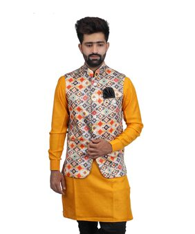 Veera Paridhaan Men Regular Fit Satin Sleeveless Printed Ethnic Jackets - Multi