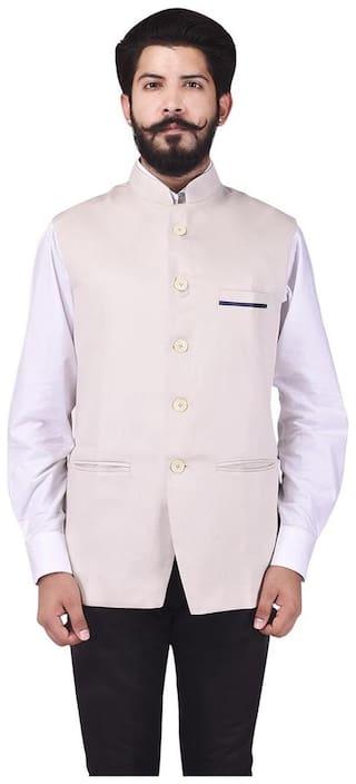 Veera Paridhaan Men's Party Wear Cotton Poly Cream Solid Pattern Jacket