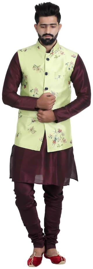 Veera Paridhaan Men's Printed Silk Satan Nehru Jacket