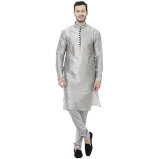 Veera Paridhaan Men Regular Fit Silk Full Sleeves Solid Kurta Pyjama - Grey