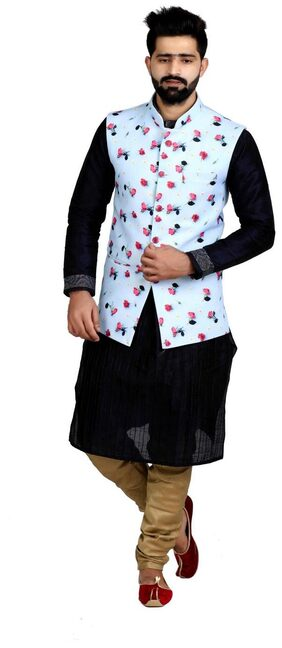 Veera Paridhaan Men's Printed Cotton Jute Nehru Jacket